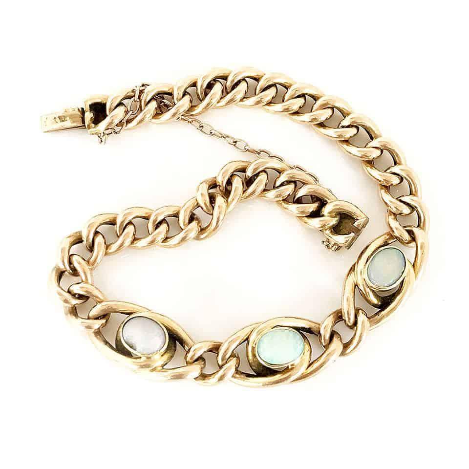 Victorian 15carat Gold triple Opal bracelet, Circa 1880