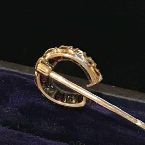 Victorian, 15ct, 15k, 625 Gold, Diamond & Ruby horse shoe stick, tie, cravat pin
