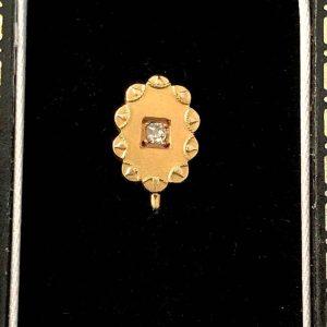 Victorian 15ct, 15k, 625 Gold Etruscan Revival Mine-cut Diamond Stick pin  C1895