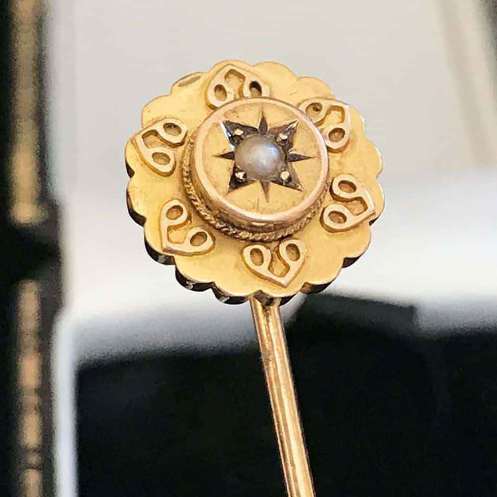 Victorian 15ct, 15k, 625 Gold Pearl Etruscan Stick pin, hallmarked Chester