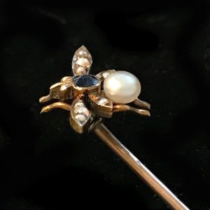 Victorian 15ct, 15k 625 Gold, Sapphire & pearl, Bee, Fly, insect Stick, tie, pin