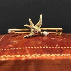 Victorian 15ct, 15k, 625 Gold Swallow & Pearl brooch, tie pin.  Circa 1895