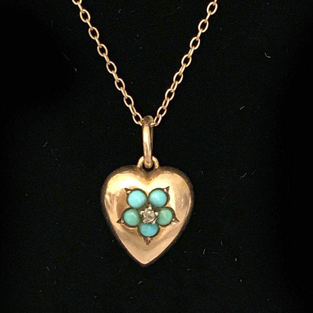 Victorian 15ct, 15k, 625 Gold Turquoise & Diamond Heart Pendant on 9ct chain