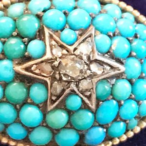Victorian 15ct, 15k, 625 Gold Turquoise & Diamond star bombe brooch Circa 1860