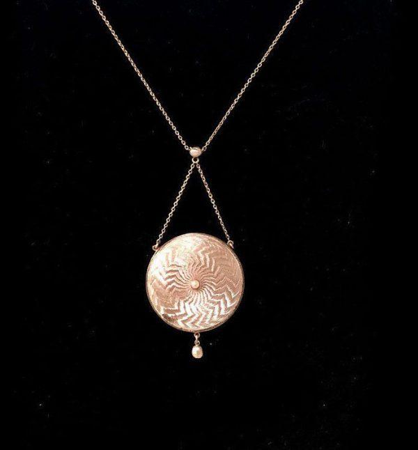 Victorian 15ct, 625 Gold Guilloche Enamel & Pearl lavaliere locket necklace