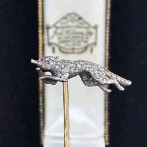 Victorian, 18ct, 18k, 750 Gold, Diamond & Ruby Fox stick, tie, cravat pin