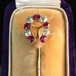 Victorian 18ct, 18k, 750 Gold Diamond & Ruby, Horse shoe, stick, tie, cravat pin