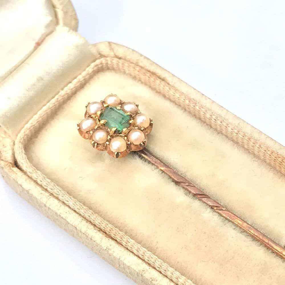 Victorian 18ct, 18k, 750 Gold Emerald & Pearl stick, tie, pin in box, C1890