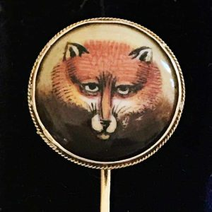 Victorian, 18ct, 18k, 750 Gold, hand painted fox head stick, tie, pin in box