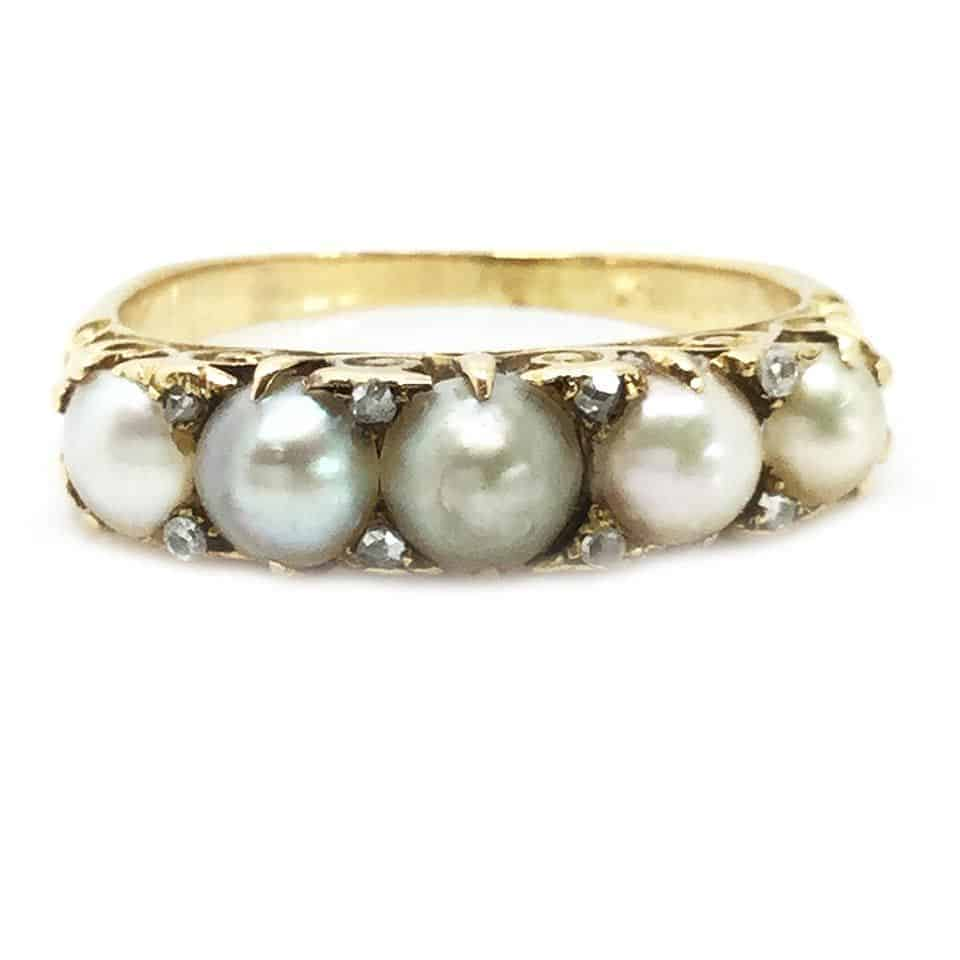 Victorian 18ct, 18k, 750 Gold Natural Pearl and Diamond ring