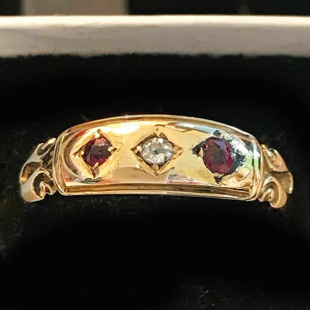 Victorian, 18ct, 18k, 750 Gold Ruby & Diamond ring, Dated 1892 to 1893
