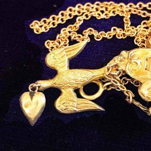 """Victorian 18ct, 18k, 750 Gold Swallow """"Saint Esprit"""" Turquoise Necklace. C1840"""