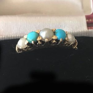 Victorian 18ct, 18k, 750 Gold Turquoise and pearl carved hoop ring, Circa 1890
