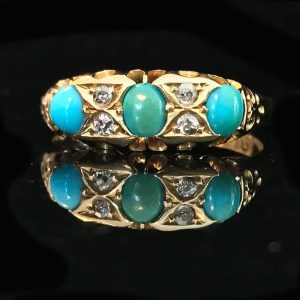 Victorian 18ct, 18k, 750 Gold Turquoise & Diamond carved hoop ring, Circa 1899