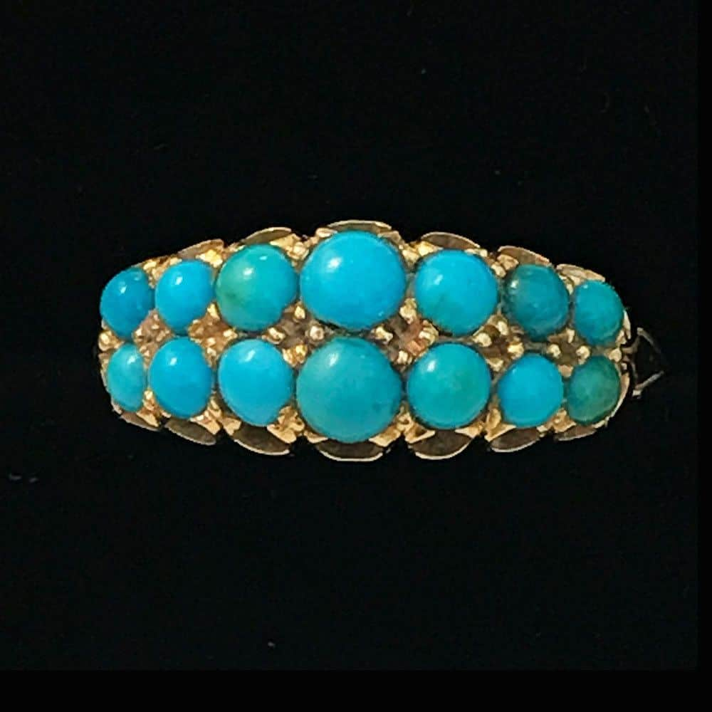 Victorian 18ct, 18k, 750 Gold Turquoise double row carved hoop ring, C1895