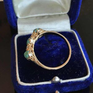 Victorian 18ct, 18k, 750 Gold Turquoise & old cut Diamond carved hoop ring C1895