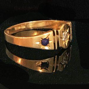 Victorian 18ct, 18k, 750 Lapis Lazuli & old-cut Diamond ring, 1883, inc UK VAT