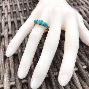 Victorian 18ct, 18k, 750 Turquoise & old-cut Diamond ring, C1895, inc UK VAT