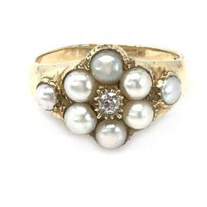 Victorian 18ct Gold European cut Diamond & Pearl Cluster Daisy ring