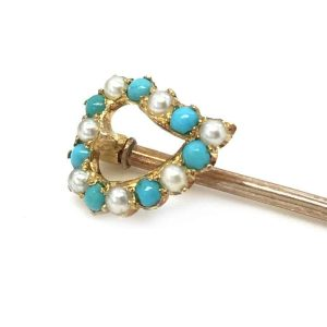 Victorian 18ct Gold Turquoise & Natural Pearl Heart Stick pin
