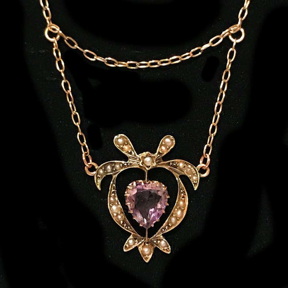 Victorian 9ct, 9k, 375 Gold Amethyst and Pearl Lavaliere necklace.  Circa 1895