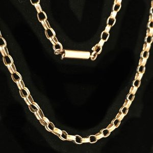 Victorian 9ct, 9k, 375 Gold double link belcher chain with barrel clasp C1880