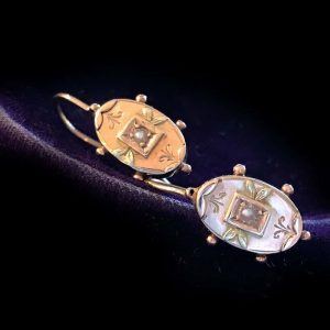 Victorian 9ct, 9k, 375 Gold & Pearl panel earrings, H/marked Bros, 375 Date 1892