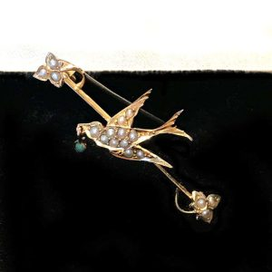 Victorian 9ct, 9k, 375 Gold Pearl & Turquoise Swallow sweetheart brooch, pin