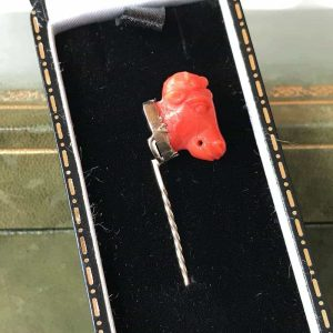 Victorian 9ct, 9k, 375 Gold Red Coral, bulls head, stick, tie, cravat pin C1880
