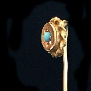 Victorian 9ct, 9k, 375 Gold Turquoise stick, tie, cravat, lapel, stock pin C1890
