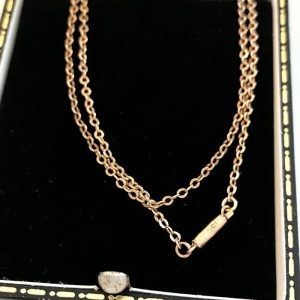 """Victorian 9ct, 9k, 375 Rose Gold chain with barrel clasp, Lgth 19"""" Circa 1890"""