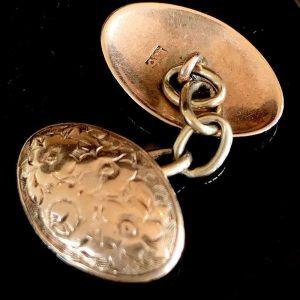 Victorian 9ct, 9k, 375 Rose Gold engraved foliate design cufflinks, Circa 1890