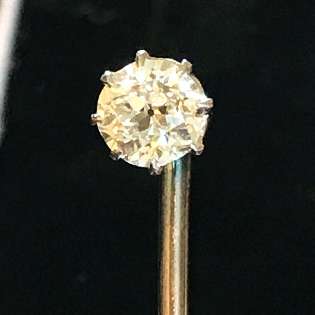 Victorian, 9ct, 9k, 375 Rose gold European cut diamond stick, tie, cravat pin