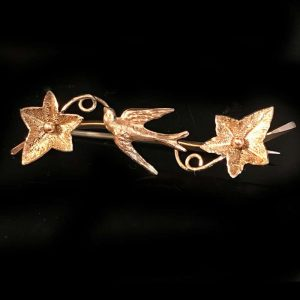 Victorian 9ct, 9k, 375 Rose Gold Swallow & Ivy sweetheart brooch, pin by S. Bros