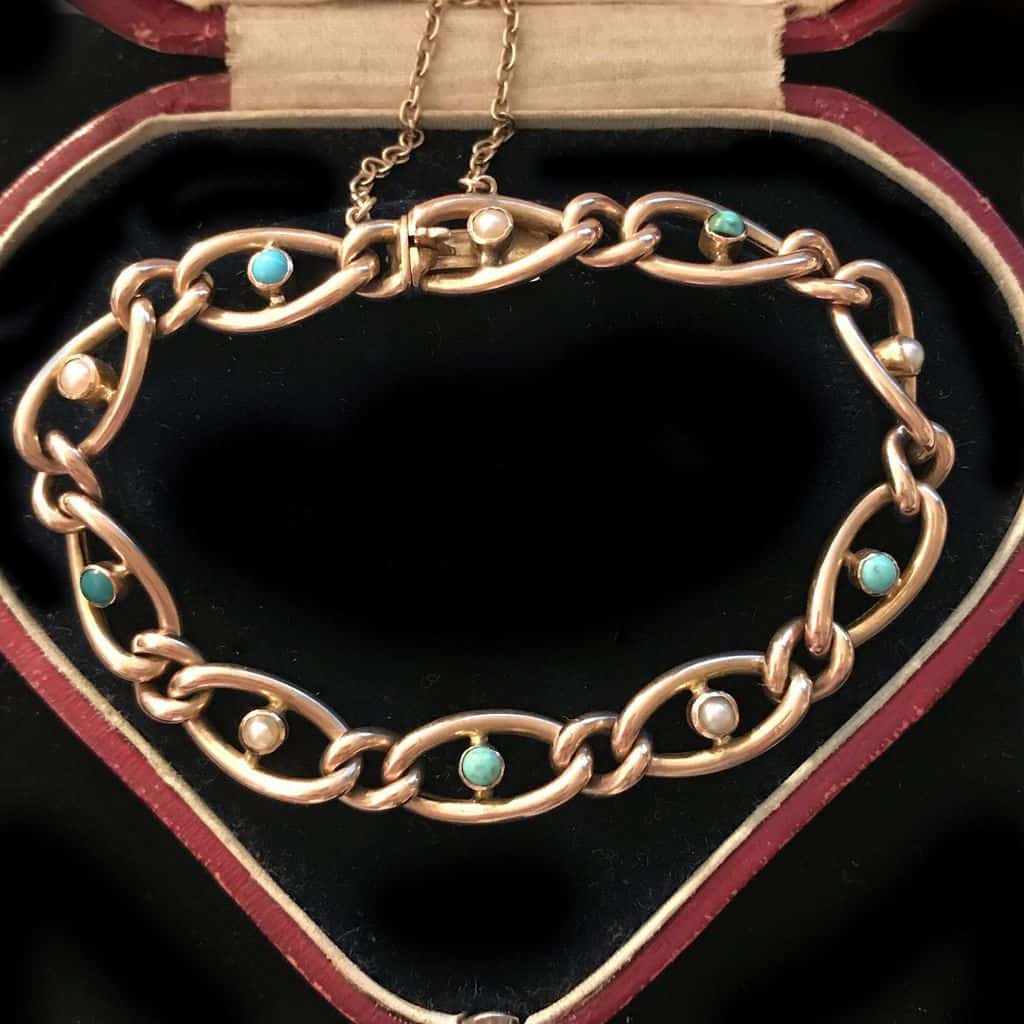 Victorian, 9ct, 9k, 375 Rose Gold Turquoise & Pearl curb bracelet C1890