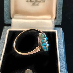 Victorian 9ct, 9k, 375 Rose Gold Turquoise & Pearl Navette Ring in box, C1880