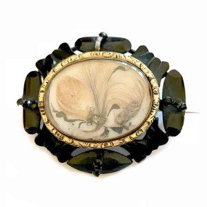 Victorian black enamel, Mourning, hair brooch, 64 x 54mm, 40.5 grms, C1840