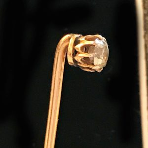Victorian, Diamond solitaire stick pin mounted in 18ct, 18k, 750 Gold Circa 1890