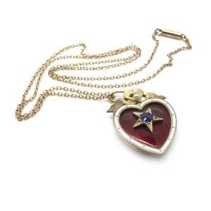 Victorian Gold, Enamel, Sapphire & Pearl Heart locket & Chain. C1880