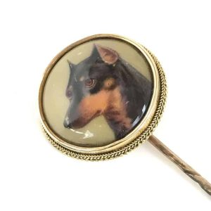 Victorian Gold enamel stick pin of a Manchester Terrier by William Bishop Ford