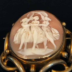 Victorian, huge swivel Cameo and Malachite brooch, 66 x 52.5mm, 66.2 grms, C1860