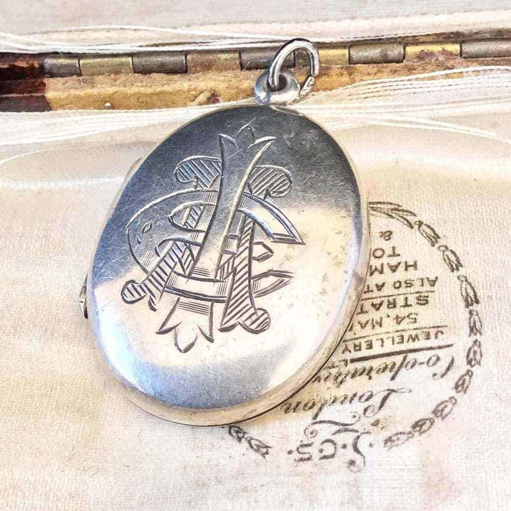 Victorian, Sterling Silver large oval 24x36mm, photo locket with monogram  C1880