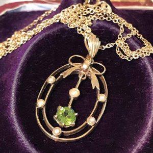 "Victorian Style 9ct, 9k Gold Peridot & Pearl Lavalier, pendant & 16"" Chain"