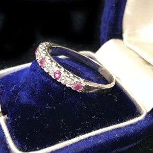 Vintage 18ct, 18k, 750 white gold Ruby & Diamond half eternity ring