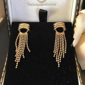 Vintage 9ct, 9k, 375 gold beaded tassel drop, dangle earrings