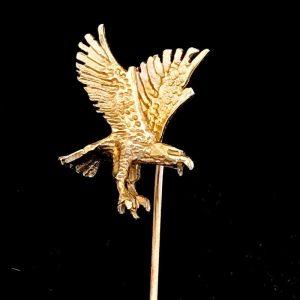Vintage 9ct, 9k, 375 Gold Eagle cravat, stick, tie, lapel, cravat pin