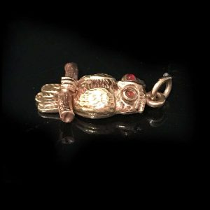 Vintage, 9ct, 9k, 375 Gold Owl Charm with ruby eyes, by Cropp and Farr, C1930