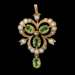 Vintage 9ct, 9k, 375 Gold Peridot and Pearl brooch / pendant, London 1988