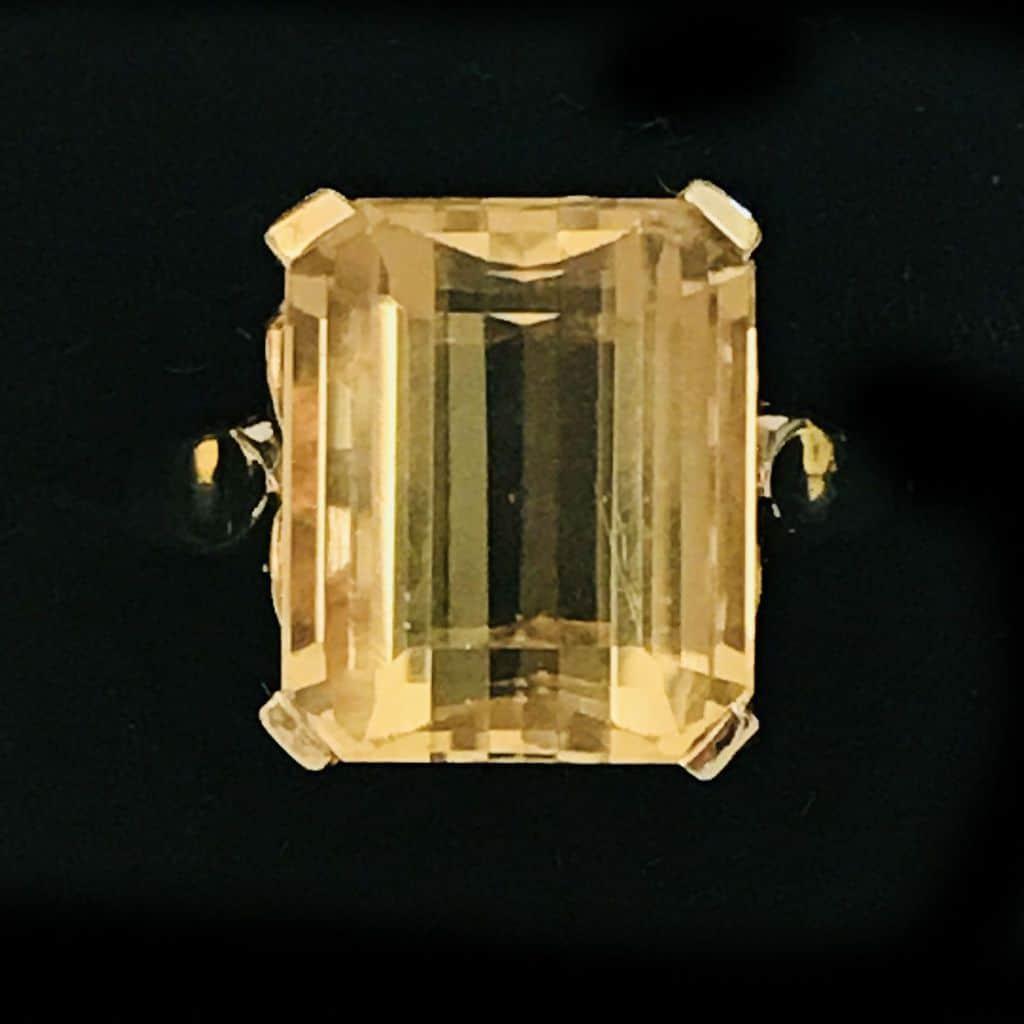 Vintage, 9ct, 9k, 375 yellow Gold Citrine cocktail, dress ring, London 1965