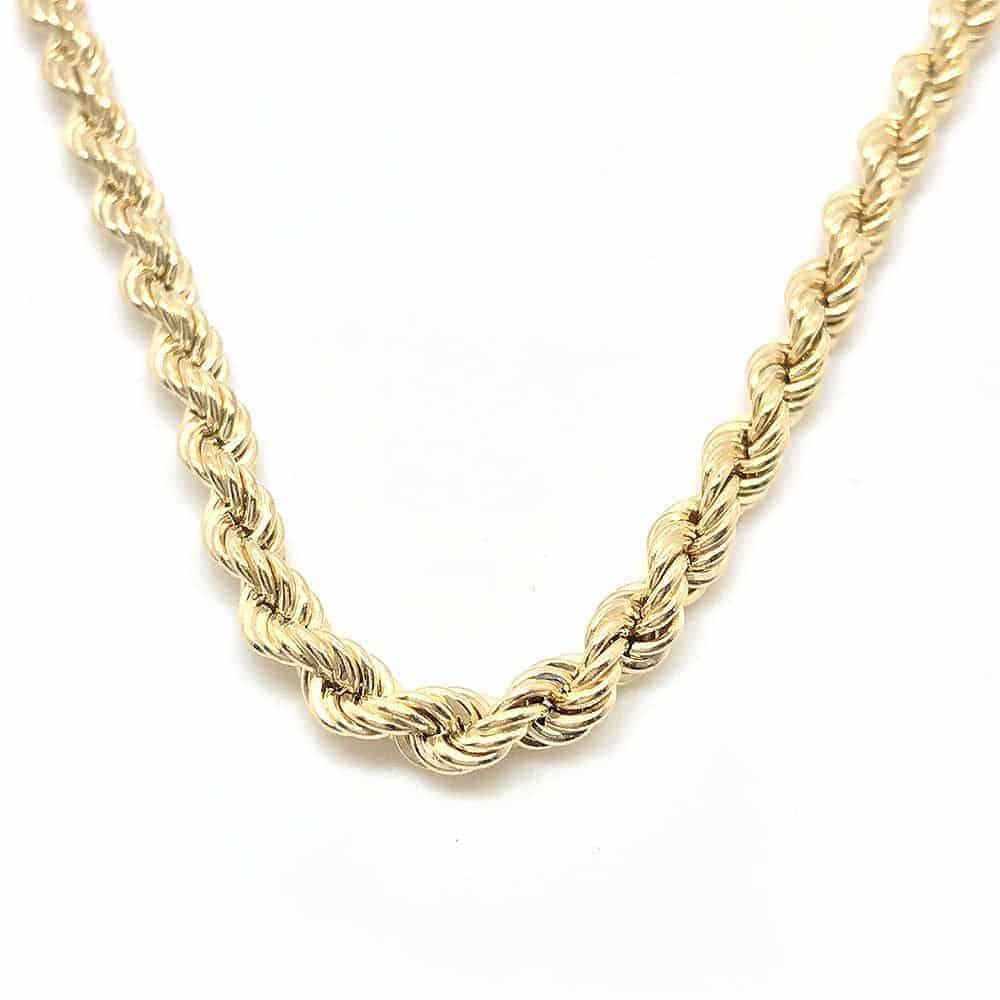 """Vintage, 9ct Yellow gold rope link chain, 18"""" / 46cm"""